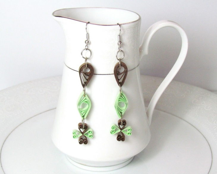 Long Pendant Quilled Earrings
