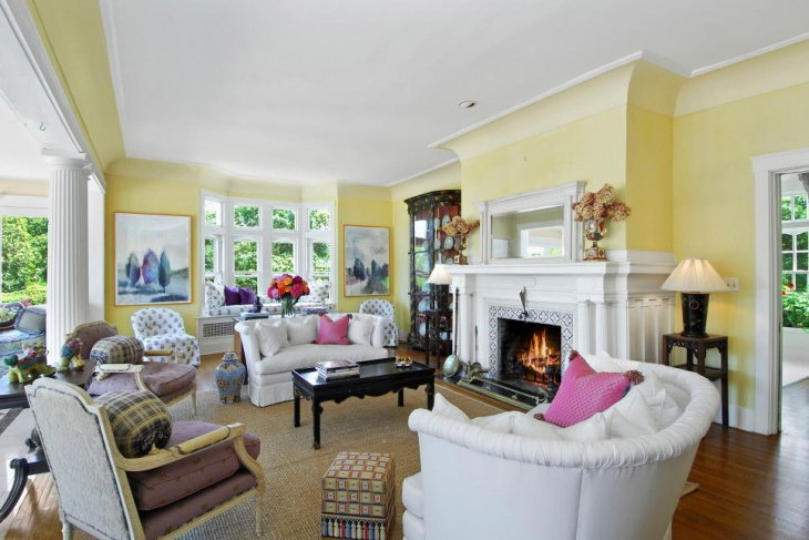 Bright Yellow Country Living Room