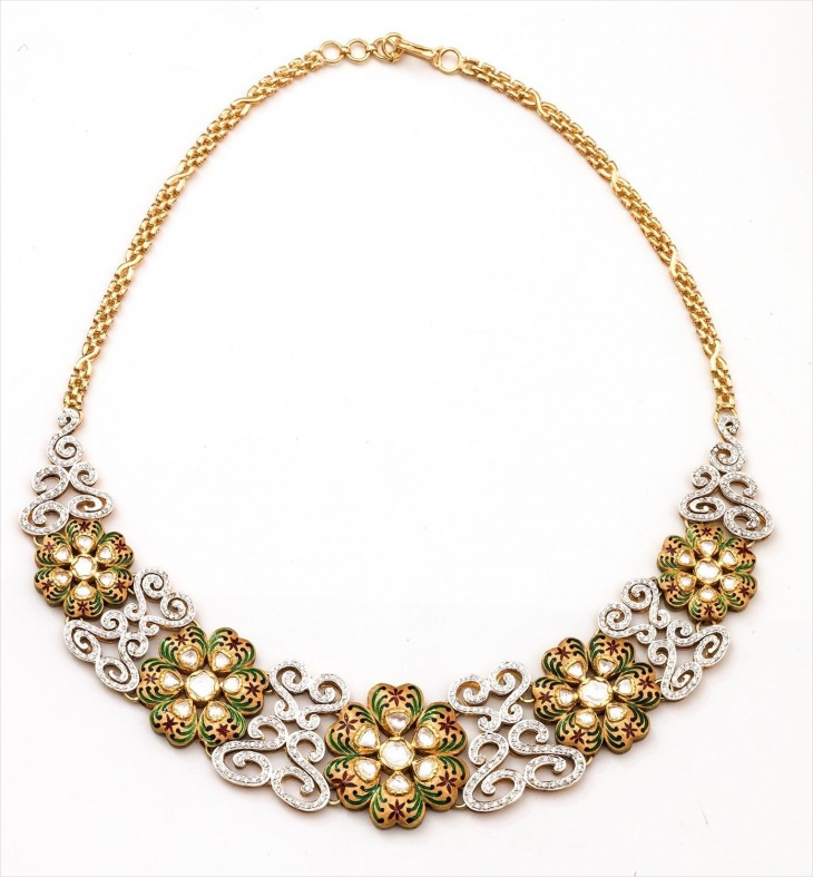 diamonds and kundan diamond necklace