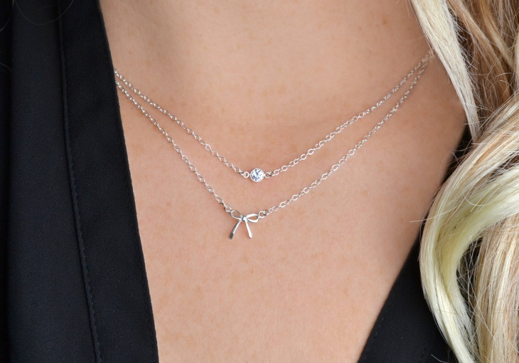 diamond bow necklace set