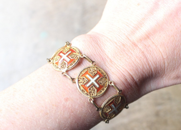 enameled cross bracelet