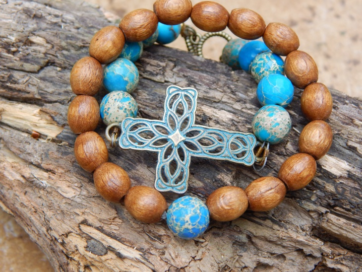 brown wooden cross bracelet