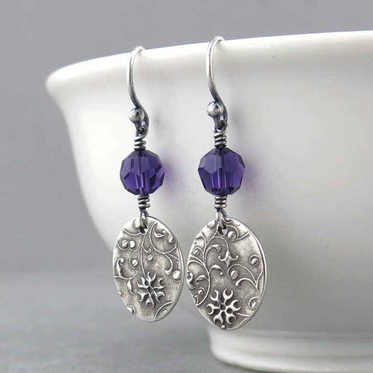 purple crystal earrings jewelry