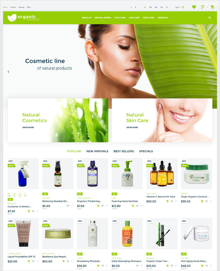 Organic cosmetics HTML5 Blog Theme