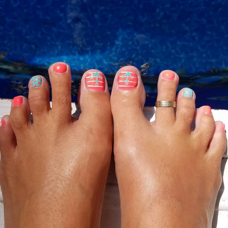 Cute Anchor Toe Nail Design