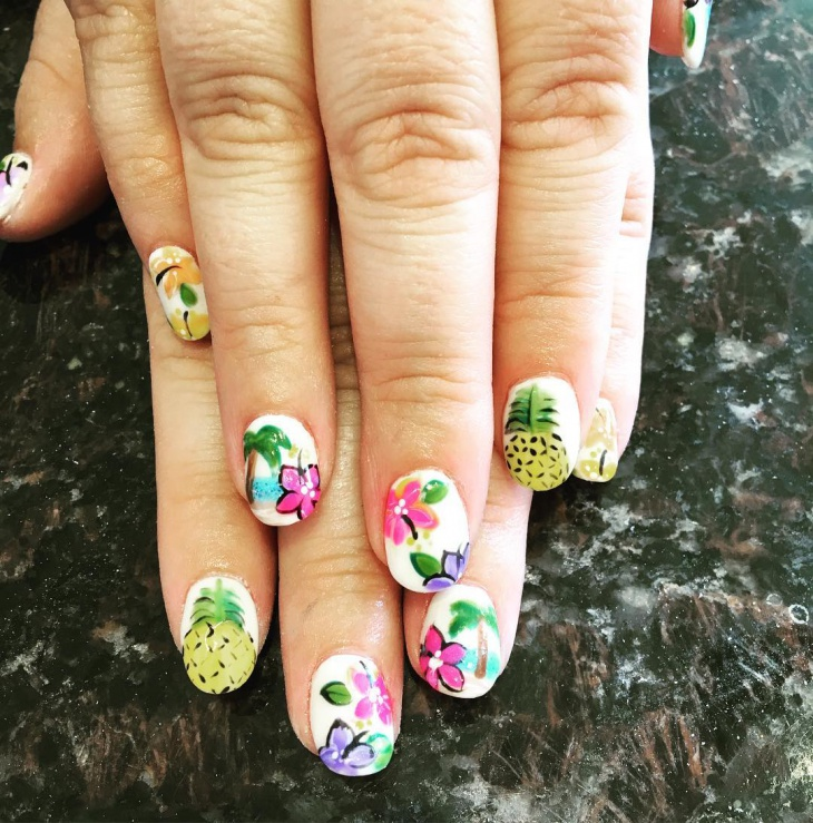 tropical flower nail design