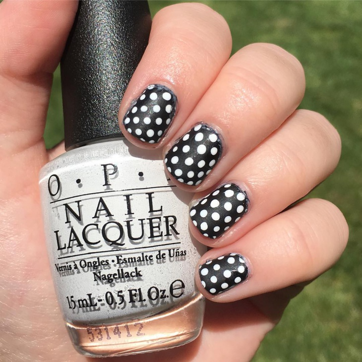 black and white polka dot nail design1