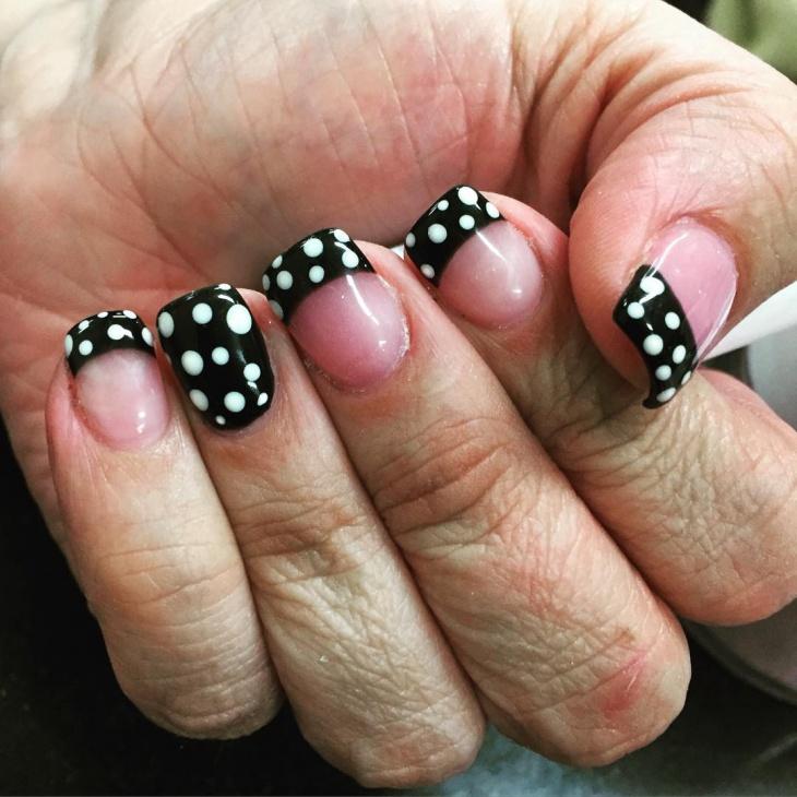 Polka Dot French Nail Design