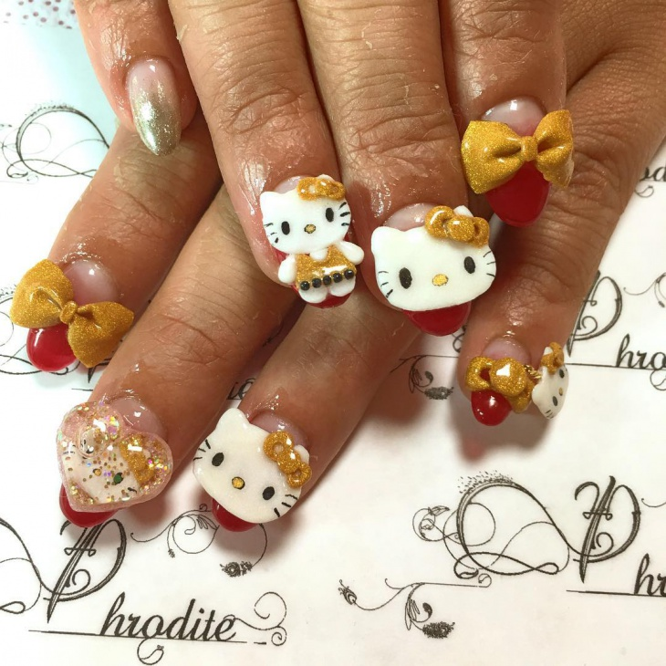 cute 3d hello kitty nail design