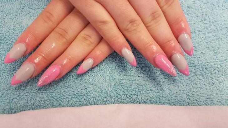 pink heart nail design