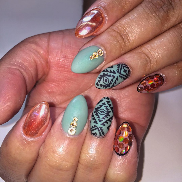 tribal stiletto nail design
