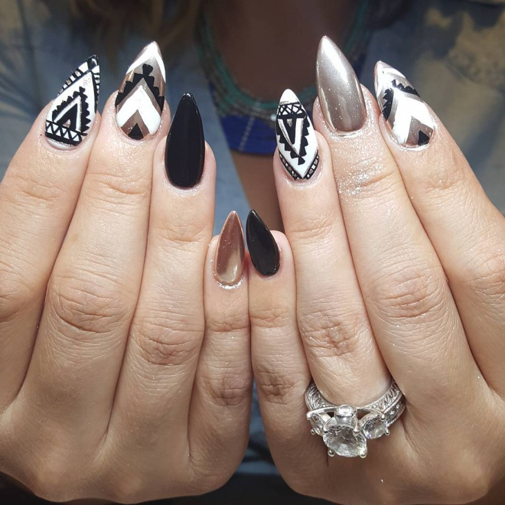 black and white tribal nail design1