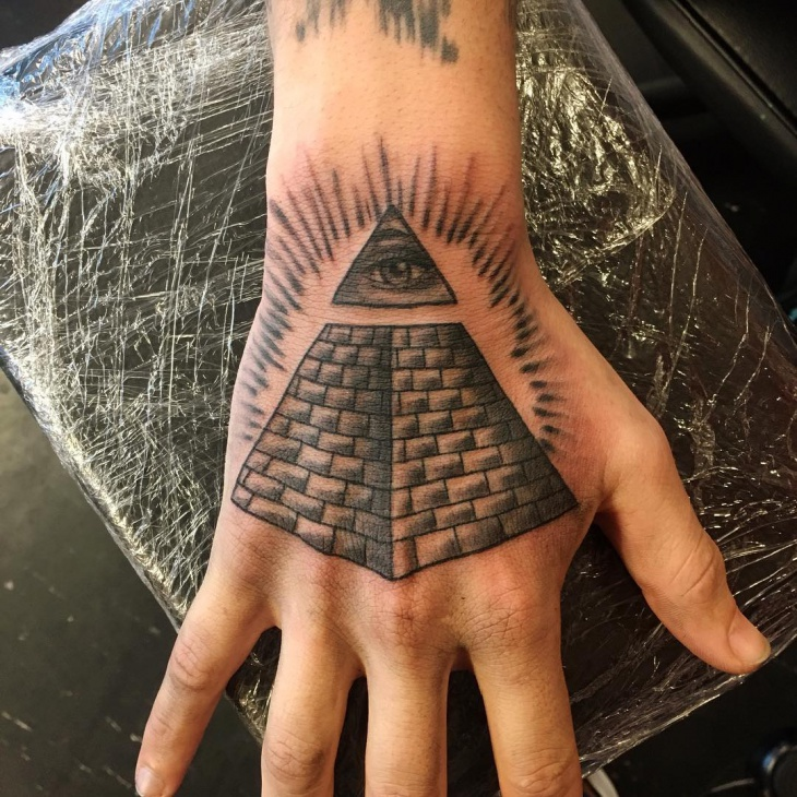 illuminati pyramid tattoo on palm