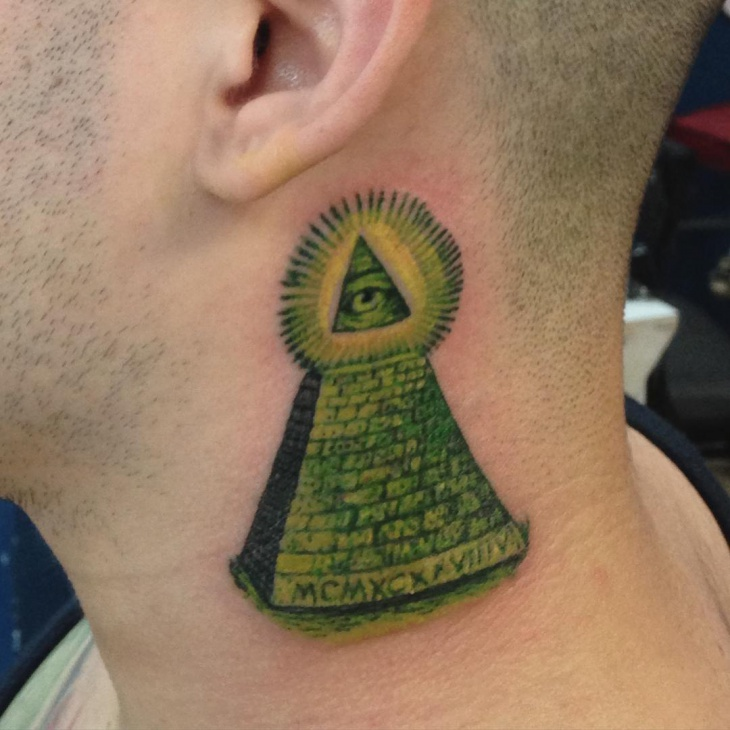 green pyramid tattoo on neck