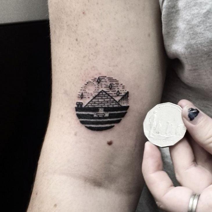 landscape pyramid tattoo design