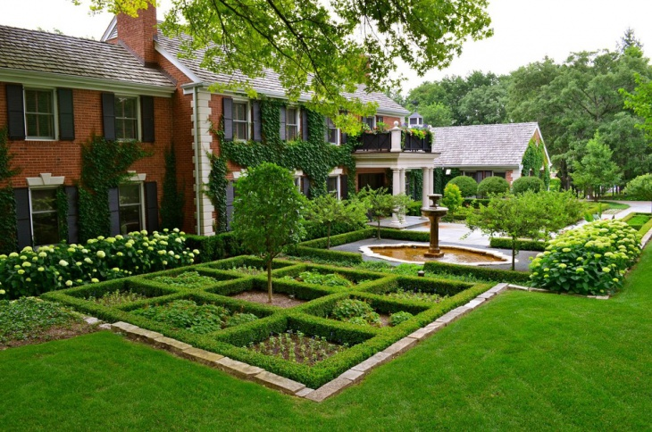 16 square garden designs ideas design trends premium for Formal front garden ideas