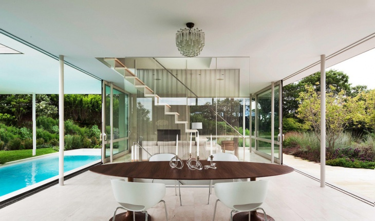 poolside oval dining table idea