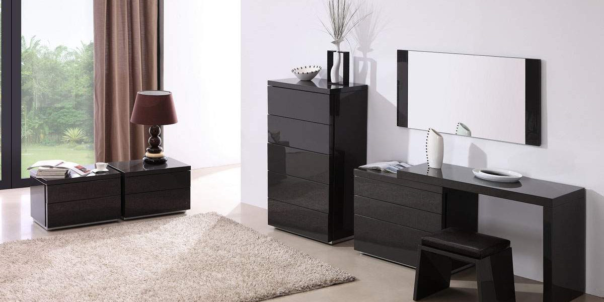 Tall Black Nightstand