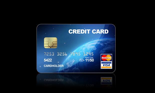 Blue Credit Card Psd Mockup