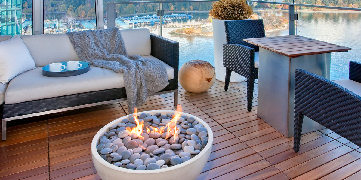 Balcony Firepit with Scenic View