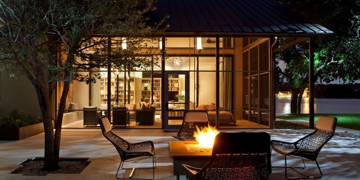 Patio Firepit at Night