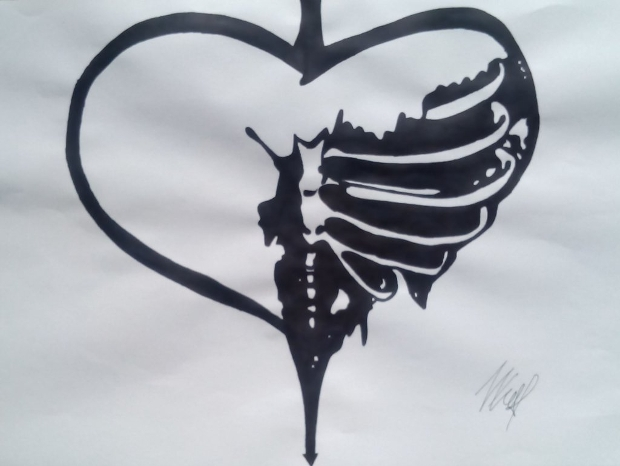 broken heart drawing