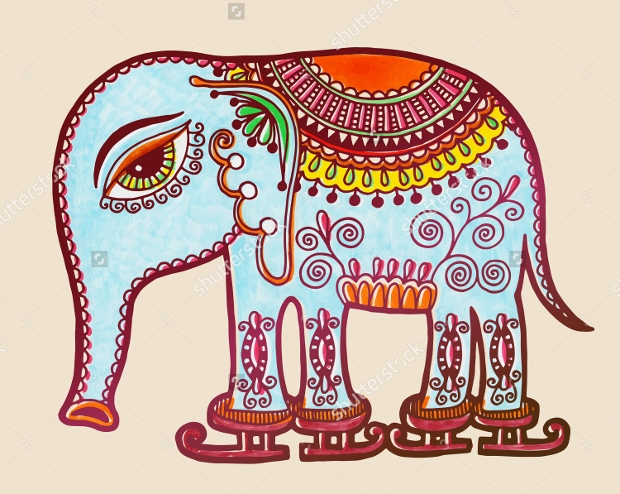 elephant tribal drawing