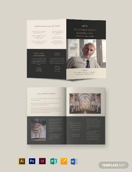booklet funeral memorial brochure template