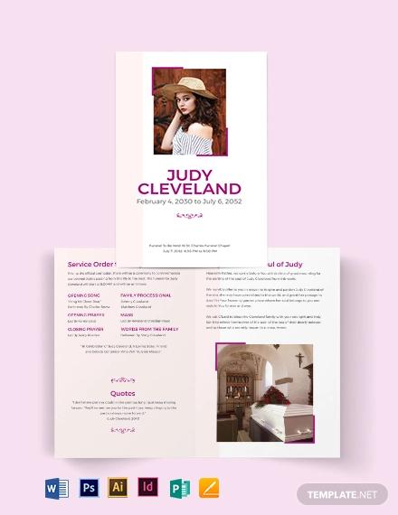 celebration of life funeral program bi fold brochure template