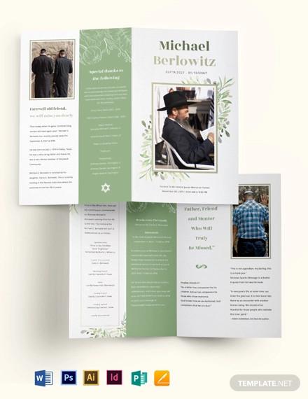 jewish funeral memorial bi fold brochure template