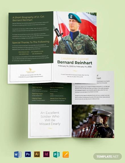 military funeral program bi fold brochure template