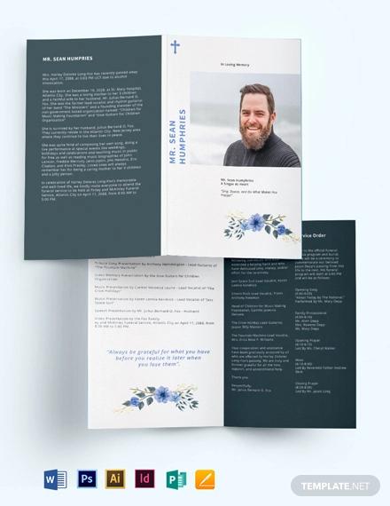 modern funeral program bi fold brochure template