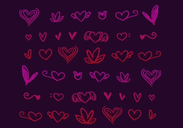 doodle heart brushes