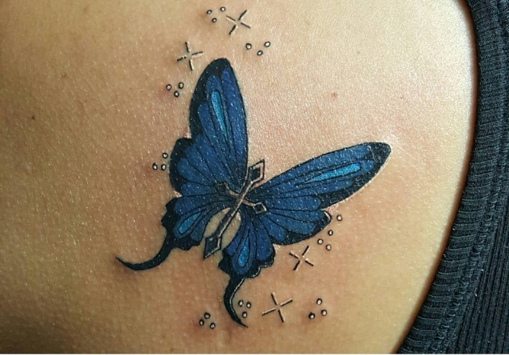 Flying Butterfly Cross Tattoo