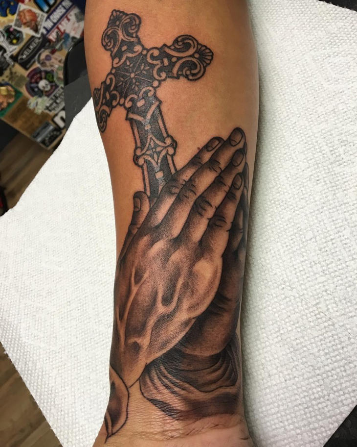 Praying Hand Cross Tattoo