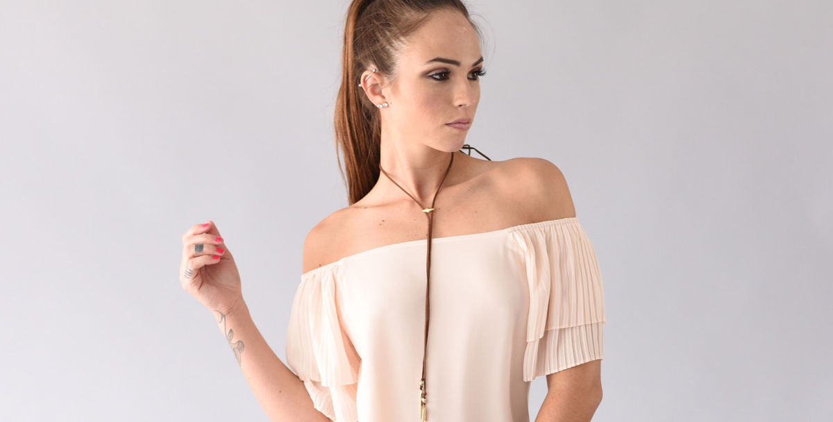 pleated off shoulder top