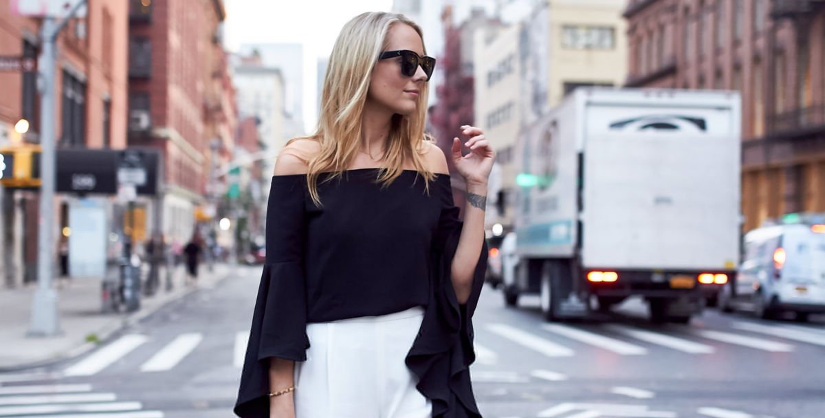 black off the shoulder top with ruffle sleeve