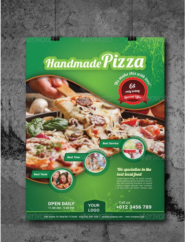 Delicious Pizza Food Flyer Design