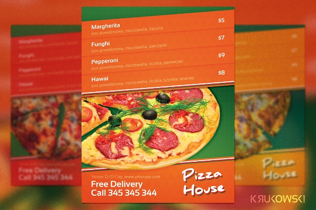 Pizza House Menu Flyer
