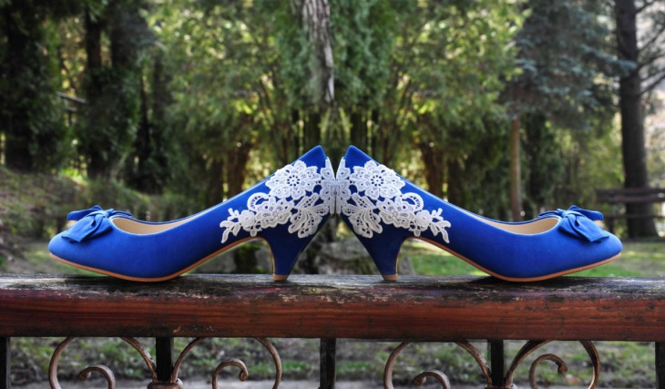 designer blue wedding shoes