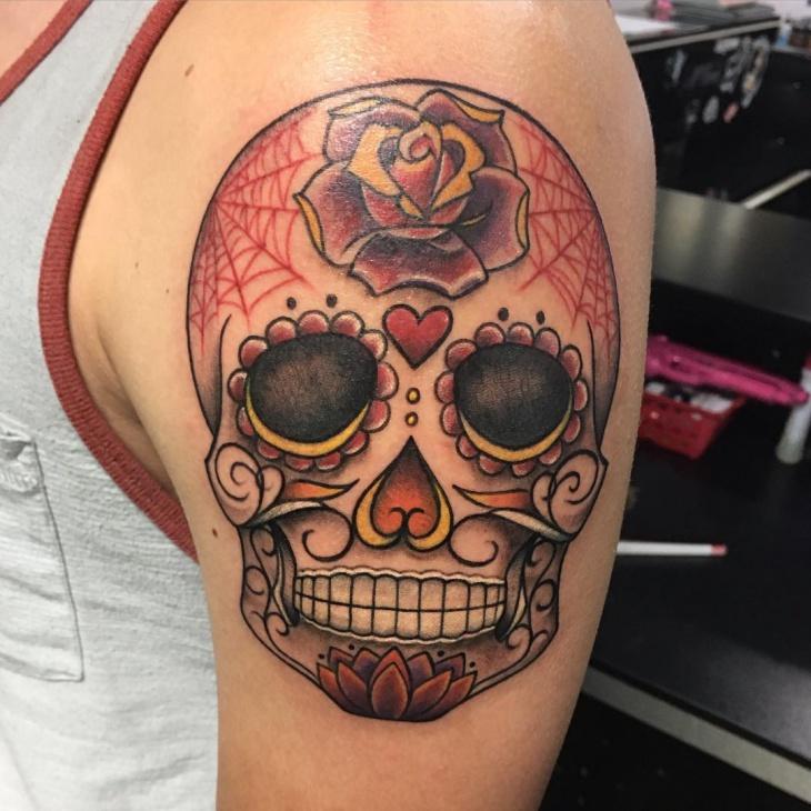 candy skull tattoo design for men
