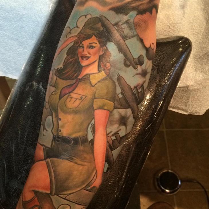 military pin up girl tattoo design