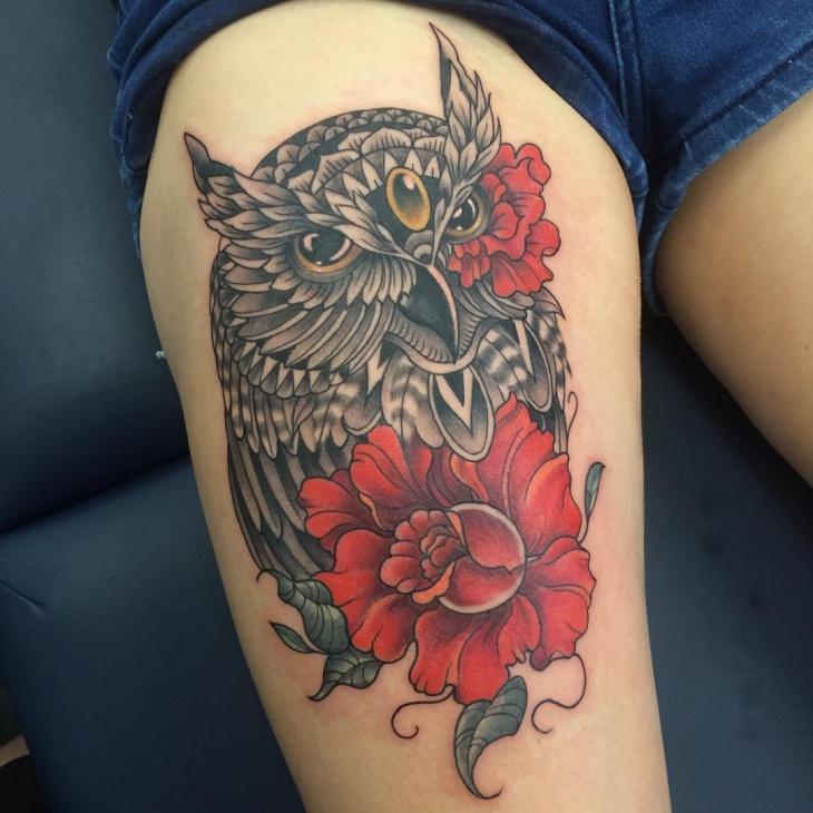 Owl and Rose leg tattoo
