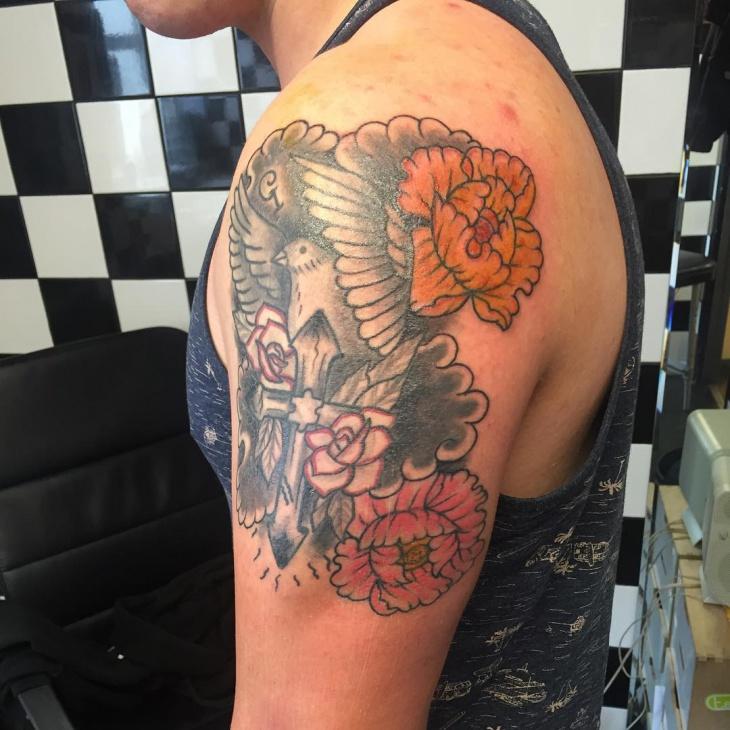 japanese flower tattoo design for men