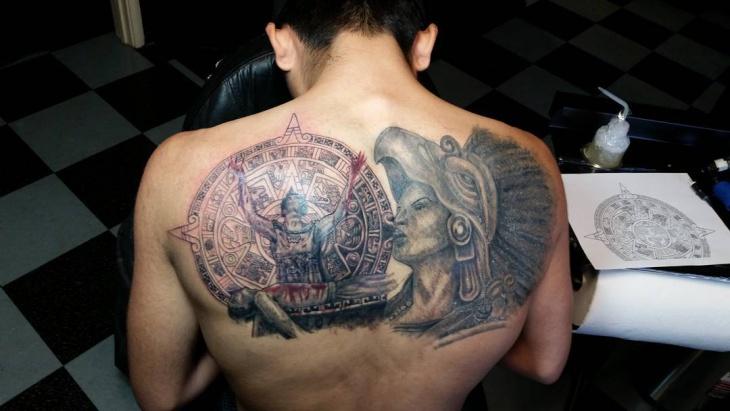 aztec back tattoo design