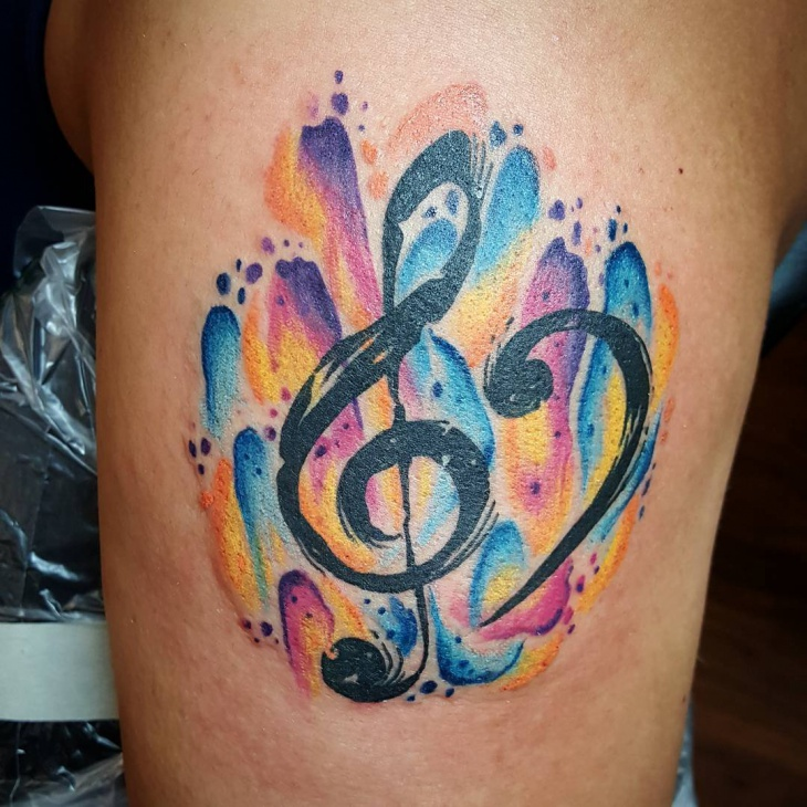 Rainbow music tattoo design
