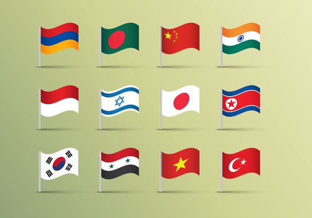 asian flags vector illustration