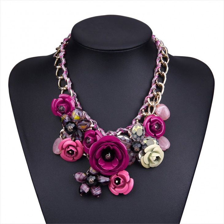 crystal floral bib necklace