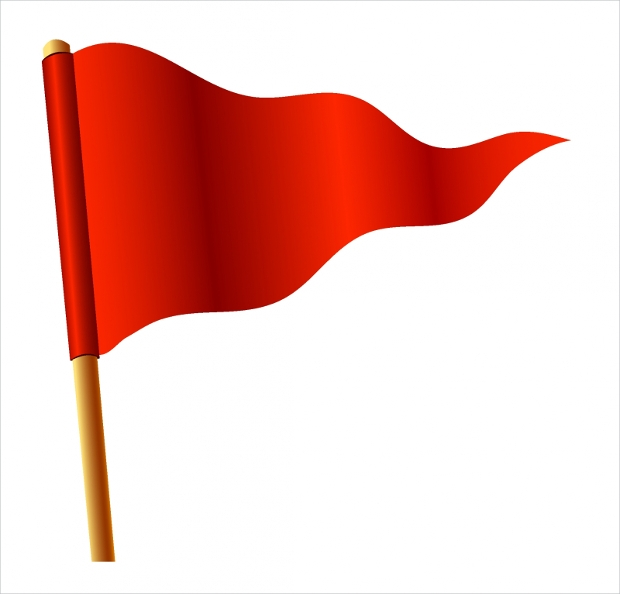 waving red triangular flag free vector