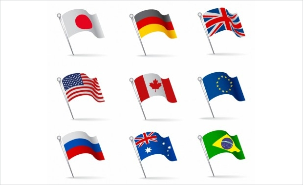world flags waving free vector